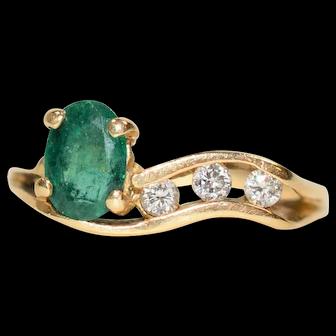 Rare Breathtaking 1tcw Colombian Emerald & Diamond 14kt Yellow Gold Ring