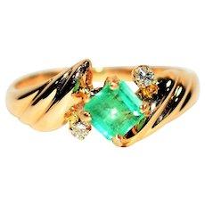 Glowing Neon .81tcw Colombian Emerald & Diamond 14kt Yellow Gold Ring