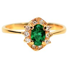 Vivid .60tcw Colombian Emerald & Diamond 14kt Yellow Gold Ring