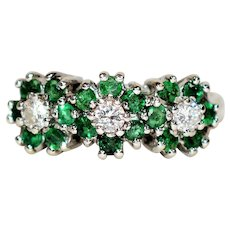 Blooming .60tcw Colombian Emerald & Diamond 14kt White Gold Ring