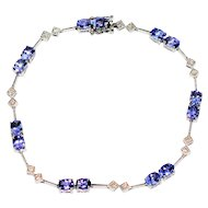 Lilac Stunner 7.21tcw Tanzanite & Diamond 14kt White Gold Tennis Bracelet