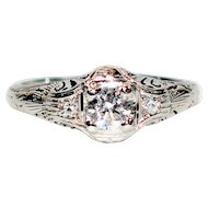 Unbeatable Romance .32tcw Diamond 18kt White Gold Ring