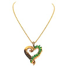 Top Quality Heart 1tcw Colombian Emerald 14kt Yellow Gold Pendant Necklace