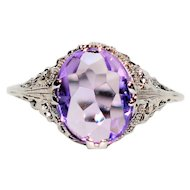 Masterpiece 3.20ct Amethyst 10kt White Gold Ring