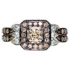 Remarkable LeVian .79tcw Chocolate & White Diamond 14kt White Gold Ring