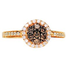 Buttery LeVian Cluster .58tcw Chocolate & White Diamond 14kt Yellow Gold Ring