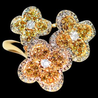Fancy Flower .40tcw Yellow & White Diamond 10kt Yellow Gold Statement Ring
