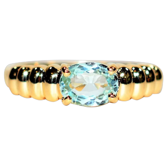 Stunning Clarity .74ct Untreated Paraiba Tourmaline 14kt Yellow Gold Ring