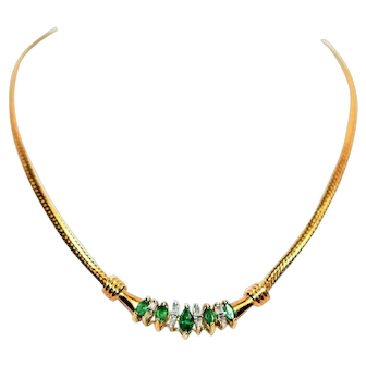 Vivid Marquise .50tcw Colombian Emerald & Diamond 10kt Yellow Gold Necklace