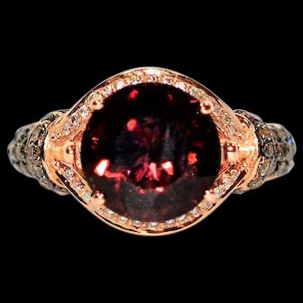 Custom Designer LeVian 3.75tcw Untreated Rubelllite & Chocolate Diamond 14kt Rose Gold Ring