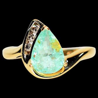 Copper Explosion 1.45tcw Untreated Paraiba Tourmaline & Diamond 10kt Yellow Gold Ring