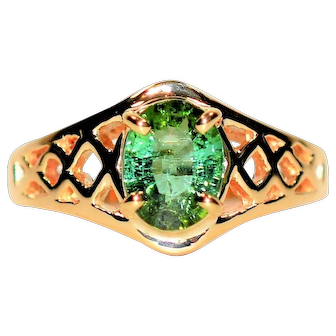 Color Changing Beauty 1.13ct Untreated Paraiba Tourmaline 14kt Yellow Gold Ring