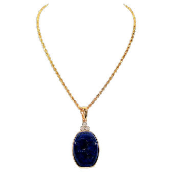 Galaxy Lapis Lazuli & .03tcw Diamond 14kt Yellow Gold Pendant Necklace