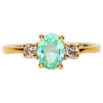 Rainbow Blue .91tcw Untreated Paraiba Tourmaline & Diamond 18kt Yellow Gold Ring