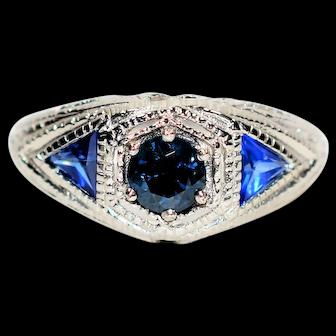 Antique Radiance 1.90tcw Ceylon Sapphire & Sapphire Platinum Ring