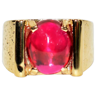 Designer Inspired 13.50 Cabochon Ruby 14kt Yellow Gold Ring