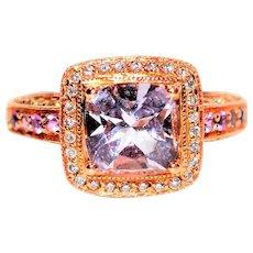 Enchanting LeVian 2.80tcw Amethyst, Pink Sapphire & Diamond 14kt Rose Gold Ring