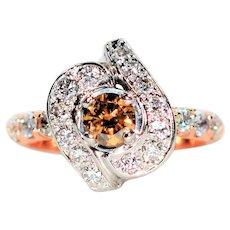 Designer Inspired 1.51tcw Fancy Chocolate & White Diamond 14kt Rose Gold Ring