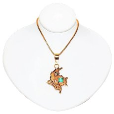 Colombia Country 1ct Colombian Emerald 14kt Yellow Gold Pendant Necklace