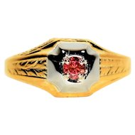 GIA Certified .16ct Fancy Pink Diamond 14kt Yellow & White Gold Mens Ring