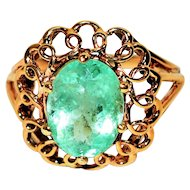 Magnificent 3ct Colombian Emerald 10kt Yellow Gold Ring