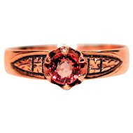 Antique Beauty .80ct Padparadscha Sapphire 10kt Rose Gold Ring