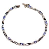 Vibrant Gemstone 3.20tcw Tanzanite & Diamond 14kt White Gold Tennis Bracelet