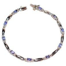 Vibrant Gemstone 3.20tcw Tanzanite & Diamond 14kt White Gold Tennis Bracelet