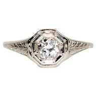 Timeless Hand Carved .40ct Diamond Platinum Antique Engagement Ring