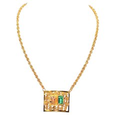 Captivating Culture 1ct Colombian Emerald 14kt Yellow Gold Fine Necklace