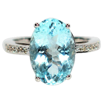 Princess Worthy 5.05tcw Certified Aquamarine & Diamond 14kt White Gold Ring
