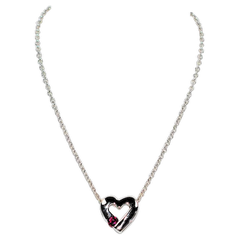 Sparkling Solitaire Heart .15ct Natural Ruby 14kt White Gold Pendant Necklace
