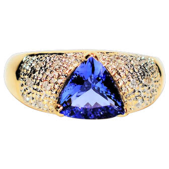 Cocktail Cluster 2.24tcw Certified Tanzanite & Diamond 14kt Yellow Gold Ring