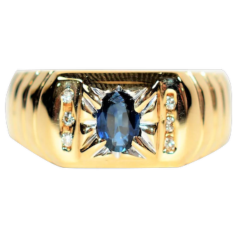 Romantic Gentleman's .81tcw Ceylon Sapphire & Diamond 14kt Yellow Gold Ring