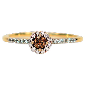 Delicious Designer .25tcw Fancy Chocolate & White Diamond 14kt Yellow Gold Ring