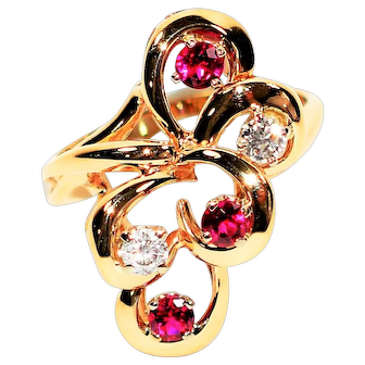 Cluster Masterpiece .70tcw Ruby & Diamond 14kt Yellow Gold Ring