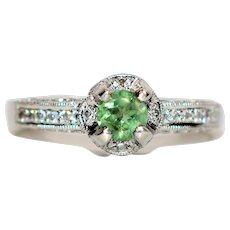 Exquisite GIA Certified .74 Alexandrite & Diamond Platinum Ring