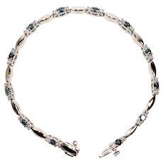Dazzling 1.50tcw Fancy Blue & White Diamond 14kt White Gold Tennis Bracelet
