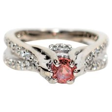 Engagement 1.20tcw Certified Padparadscha Sapphire & Diamond 18kt White Gold Ring