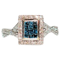Celebrity Style .50tcw Fancy Blue & White Diamond 10kt White Gold Ring