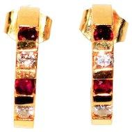 Deep Color .32tcw Ruby & Diamond 14kt Yellow Gold Half-Hoop Earrings