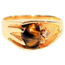 Vivid Color Play 1.36tcw Natural Tigers Eye & Diamond 14kt Yellow Gold Mens Ring