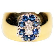 Spectacular .48tcw Ceylon Sapphire & Diamond 14kt Yellow Gold Ring