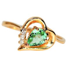 Lovely Heart 1tcw Untreated Paraiba Tourmaline & Diamond 14kt Yellow Gold Ring