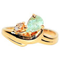 Stellar .73tcw Untreated Paraiba Tourmaline & Diamond 14kt Yellow Gold Ring