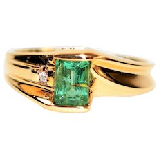 Modern Marvel .77tcw Untreated Paraiba Tourmaline & Diamond 10kt Yellow Gold Ring