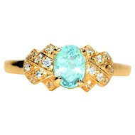 Vivid Color .80tcw Untreated Paraiba Tourmaline & Diamond 14kt Yellow Gold Ring
