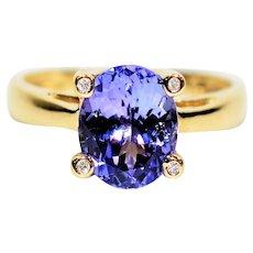 Diamond Prong 3.30tcw D'Block Tanzanite 10kt Yellow Gold Ring