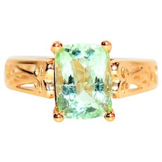 Green Glow 2.61ct Untreated Paraiba Tourmaline 14kt Yellow Gold Solitaire Ring
