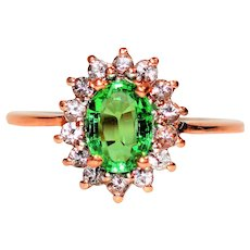 Luminous Untreated 1.65tcw Tsavorite Garnet & Diamond 10kt Rose Gold Ring